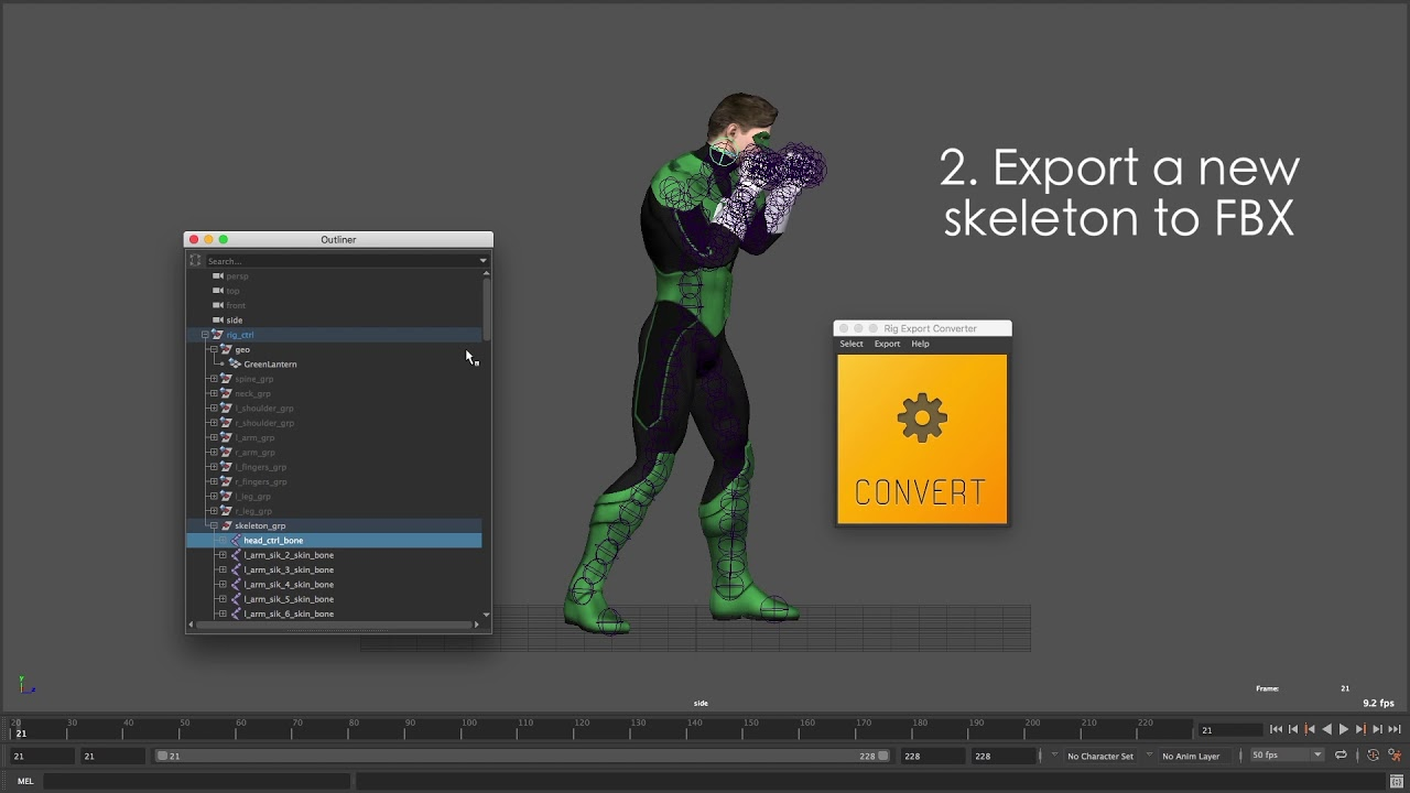 Export Complex Maya Animation to FBX with Rig Export Converter