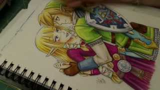 TLoZ Link & Zelda Skyward Sword Fan Art (Copic Marker)