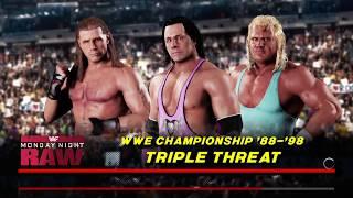 WWE 2K18 Bret Hart VS Shawn Michaels VS Mr. Perfect Triple Threat Match WWE Title '88