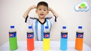 Learn colors with Pepsi Bottles + mentos