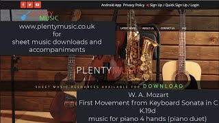 Mozart W.A.   First Movement from Keyboard Sonata in C K.19d for Piano 4 hands (piano duet)
