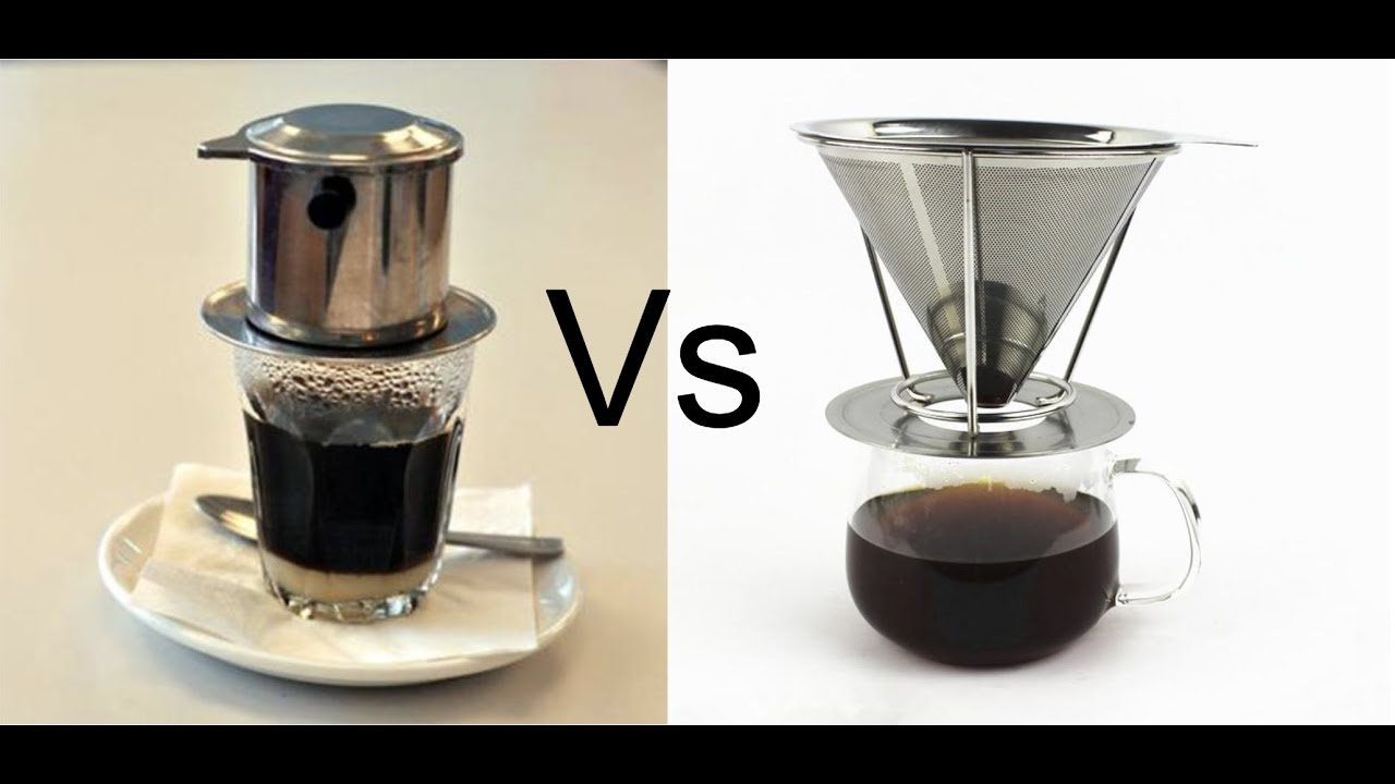 Stainless Steel Cone Pour Over Coffee Dripper Vs Vietnamese Coffee Dripper Youtube