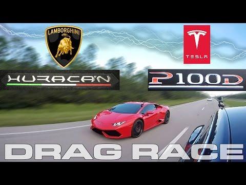 Tesla Model S P100D takes on a Lamborghini Huracan LP610-4 Drag Racing