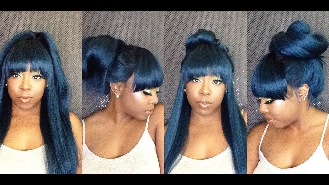 5 Ways To Style A Synthetic Wig With Bangs In Under 1 Minute Youtube
