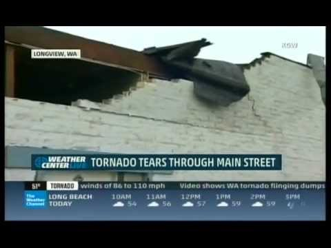 EF-1 tornado strikes Longview, WA (The Weather Channel repor