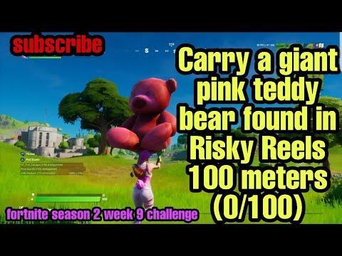 Carry A Giant Pink Teddy Bear Found In Risky Reels 100 Meters (0/100) Fortnite Season 2 Week 9