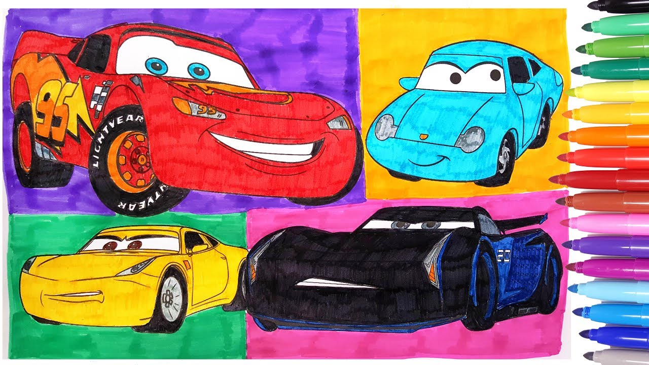 CARS 3 COLORING PAGES 2 HOW TO DRAW COLOR CARS