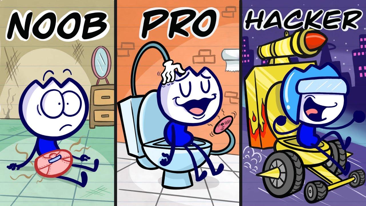 Max Occupied His RADIOACTIVE Toilet - NOOB vs PRO vs HACKER Pencilanimation Funny Animated Film