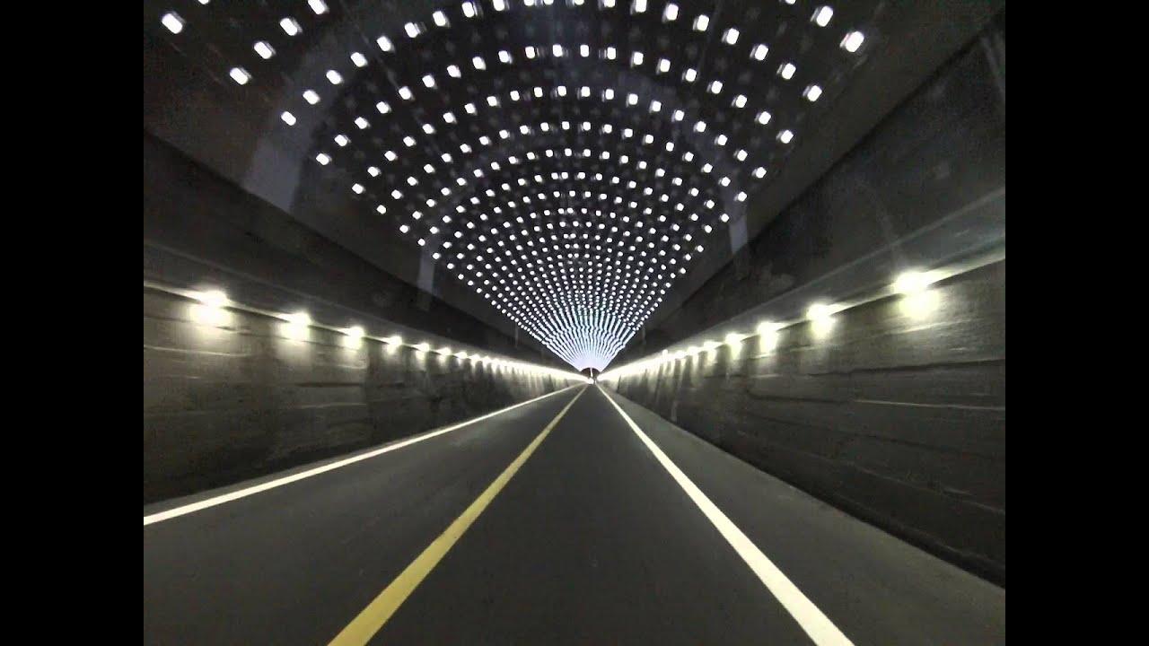 남한강 자전거도로 LED 조명 터널 - YouTube