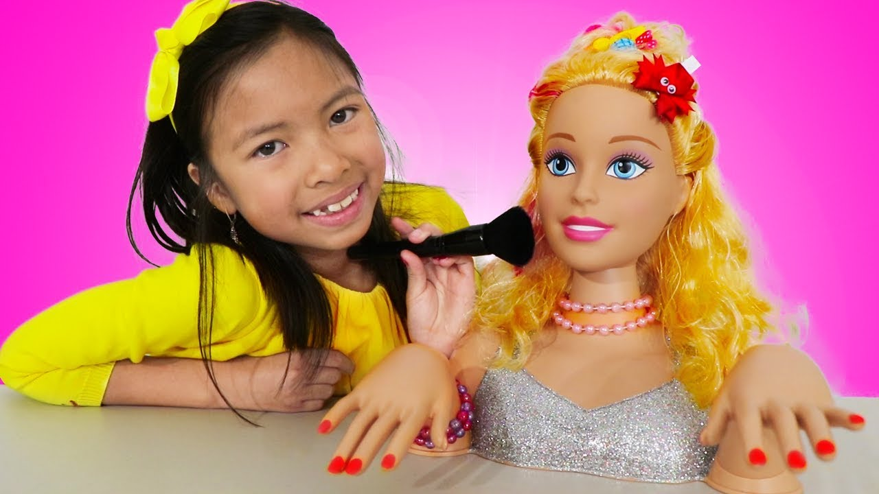 Wendy Pretend Play With Barbie Makeover Toy Youtube