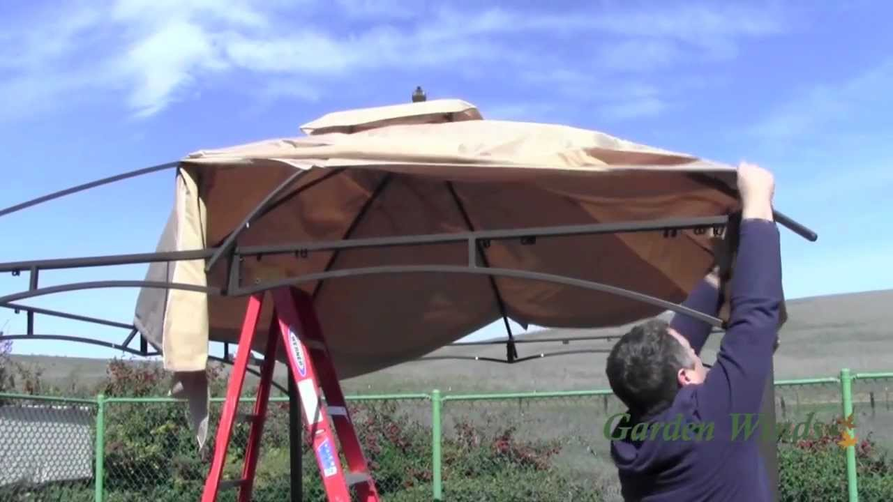 & How to install a Loweu0027s Allen Roth 10x12 Gazebo Canopy - YouTube