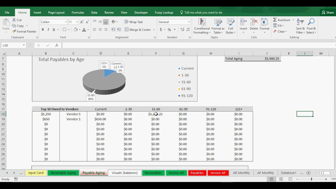 aging accounts receivable payable tracking template youtube