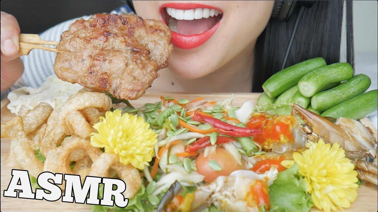 ASMR PICKLE CRAB ปูไข่ดอง + SPICY PAPAYA SALAD ส้มตำ (SATISFYING EATING SOUND) NO TALKING | SAS-ASMR