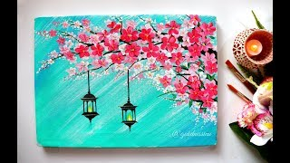 Easy Cherry Blossom Flowers With hangings lamps Painting/ Diwali Special