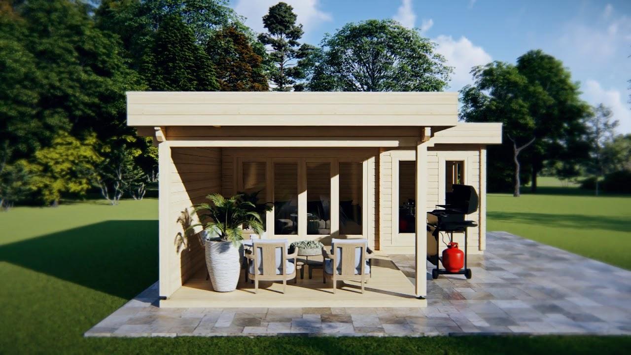 Gartenhaus mit Terrasse Hansa A 18m2 / 44mm / 3×6m