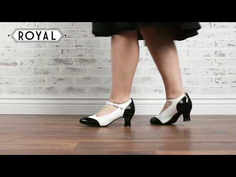 Gatsby Two-Tone T-Straps In Black/White By Royal Vintage Shoes