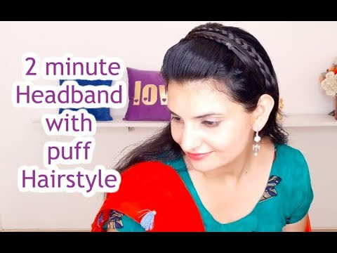 Headband with Puff | Everyday easy hairstyle for school and college for medium to long hair thumbnail