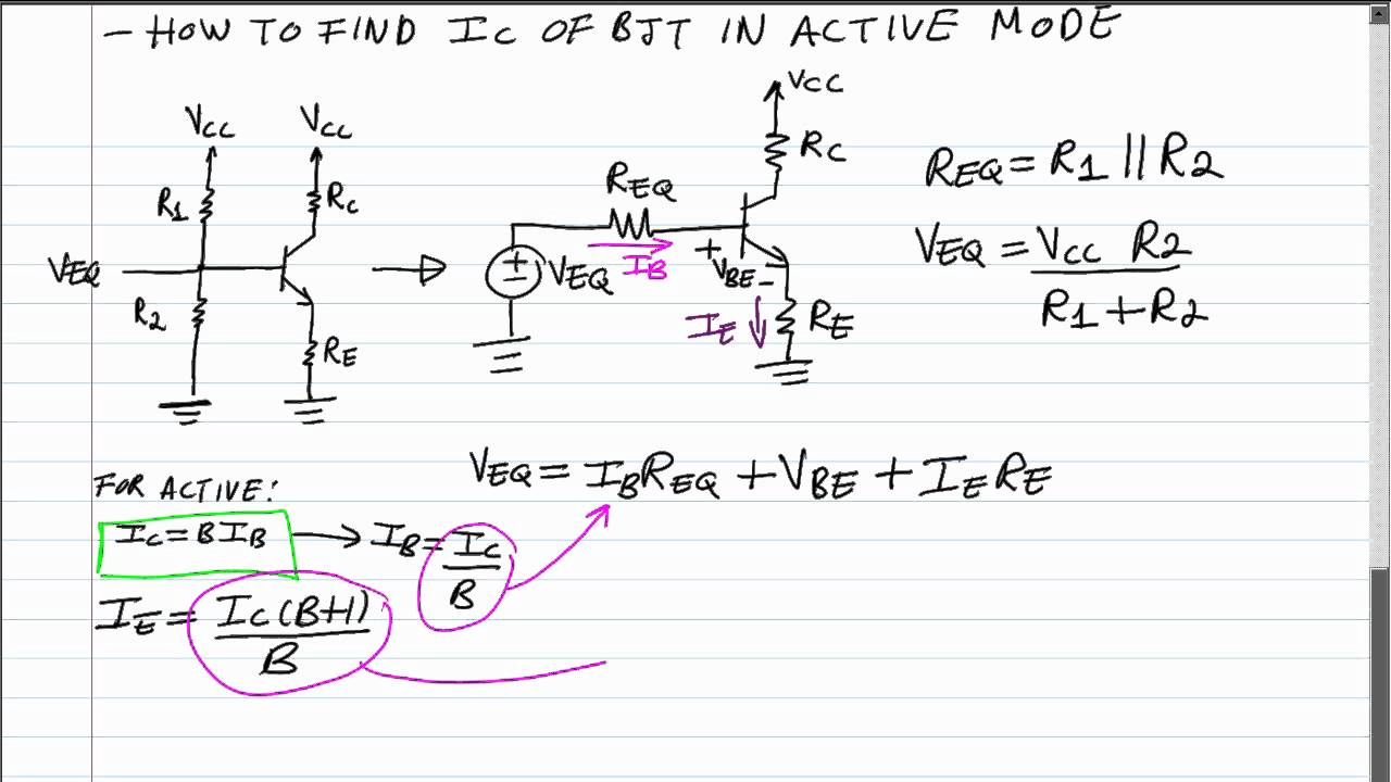 Bjt Q Point Formula For Collector Current In Active Mode 4 Parallel Led Resistance Resistor Circuit Schematic Calculator Bias Network Youtube