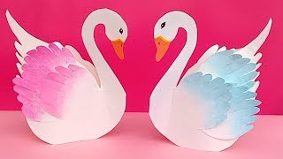 DIY paper crafts for kids Paper swan/how to make swan paper/Easy paper birds