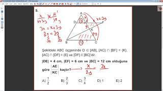 9. Sınıf MEB Matematik Kazanım Kavrama Testi 15 Okul Kursu Üçgende Eşlik Ve Benzerlik 2