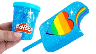 DIY How to Make Play Doh Sparkle Rainbow Heart Popsicle Modelling Clay Learn Colors Baby Doll RL