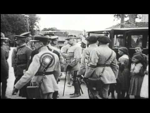 General Charles A. Doyen  inspects the US 5th Marine Regiment in Damblain, France...HD Stock Footage