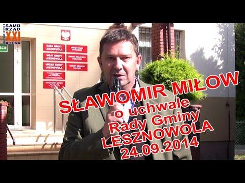 Sławomir Miłow - kandydat na wójta gminy Lesznowola - komentuje uchwałę Rady z dn. 24.09.2014