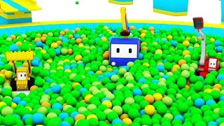 The Ball Pit in the Amusement Park  - Learn with Tiny Trucks : bulldozer , crane , excavator