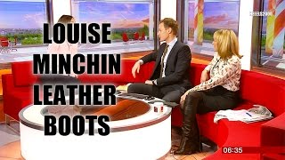 Louise Minchin   1st March 2017   Leather knee high boots + Skirt