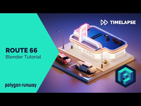 Route 66 - Blender 2.8 Low Poly 3D Modeling Tutorial