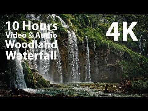 4K UHD 10 hours - Woodland Waterfall - mindfulness, ambience, relaxing, meditation, nature