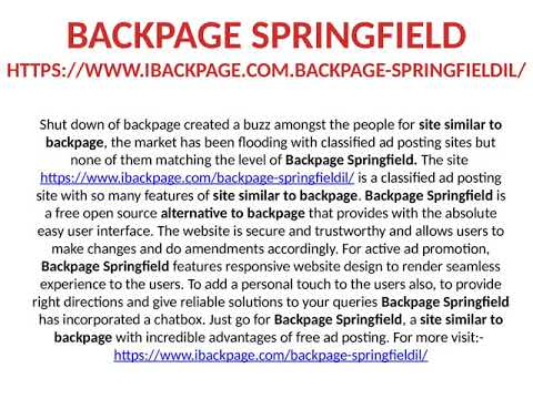 Backpage com springfield