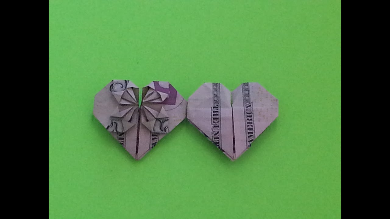 How to Make a Dollar Bill Origami Heart - Easy (Origami ... - photo#33