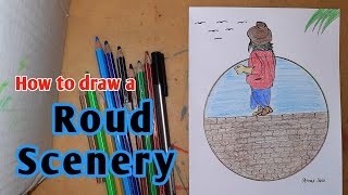 How to Draw a roขnd scenery/colour pencil draw