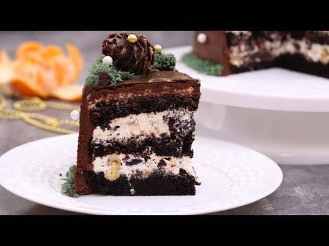 КЛАССИЧЕСКИЙ ТОРТ ШОКОЛАД ЧЕРНОСЛИВ ГРЕЦКИЙ ОРЕХ😋 новогодний декор из крема 😋Chocolate cake