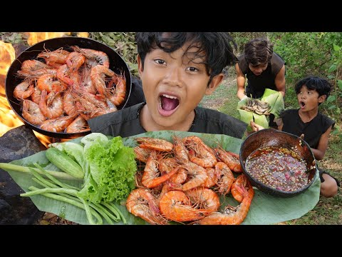 Primitive Technology - Cooking and fry shrimp - Eating delicious Ep00043
