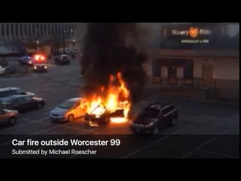 Car erupts in flames outside 99 Restaurant in Worcester (video)