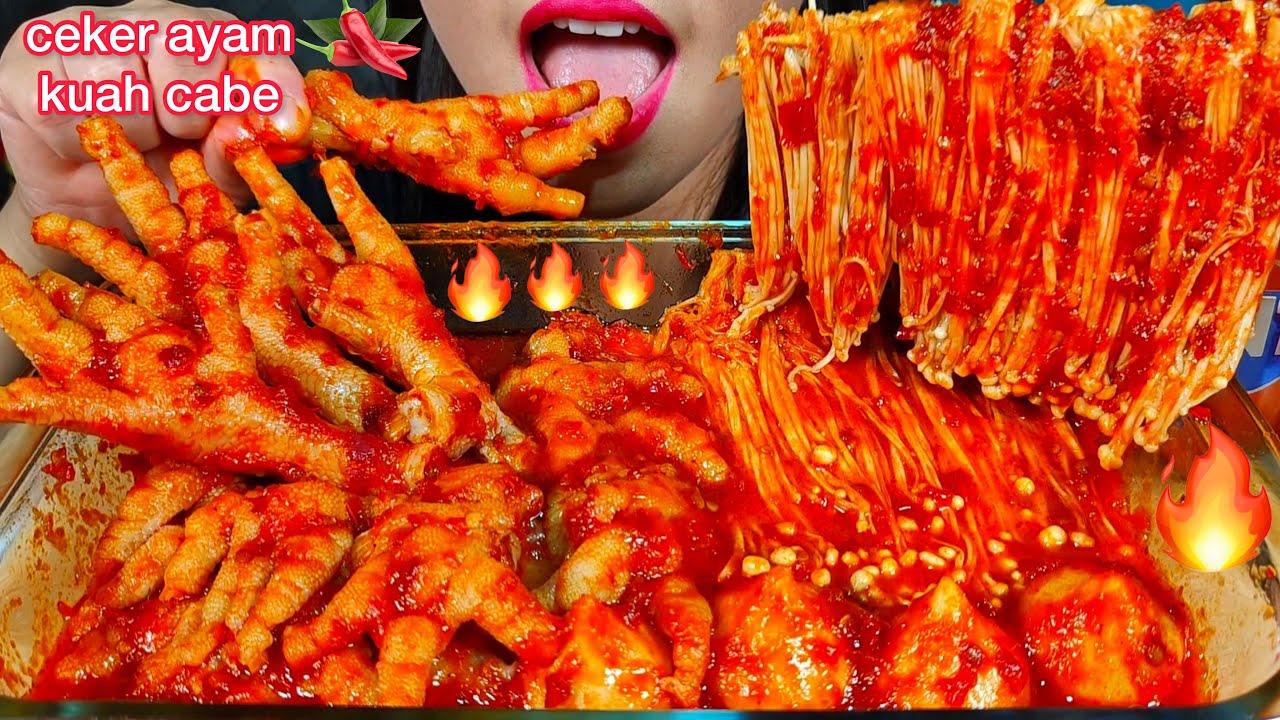 MAKAN CEKER AYAM KUAH CABE JAMUR *SPICY CHICKEN FEET ENOKI MASSIVE Eating Sounds