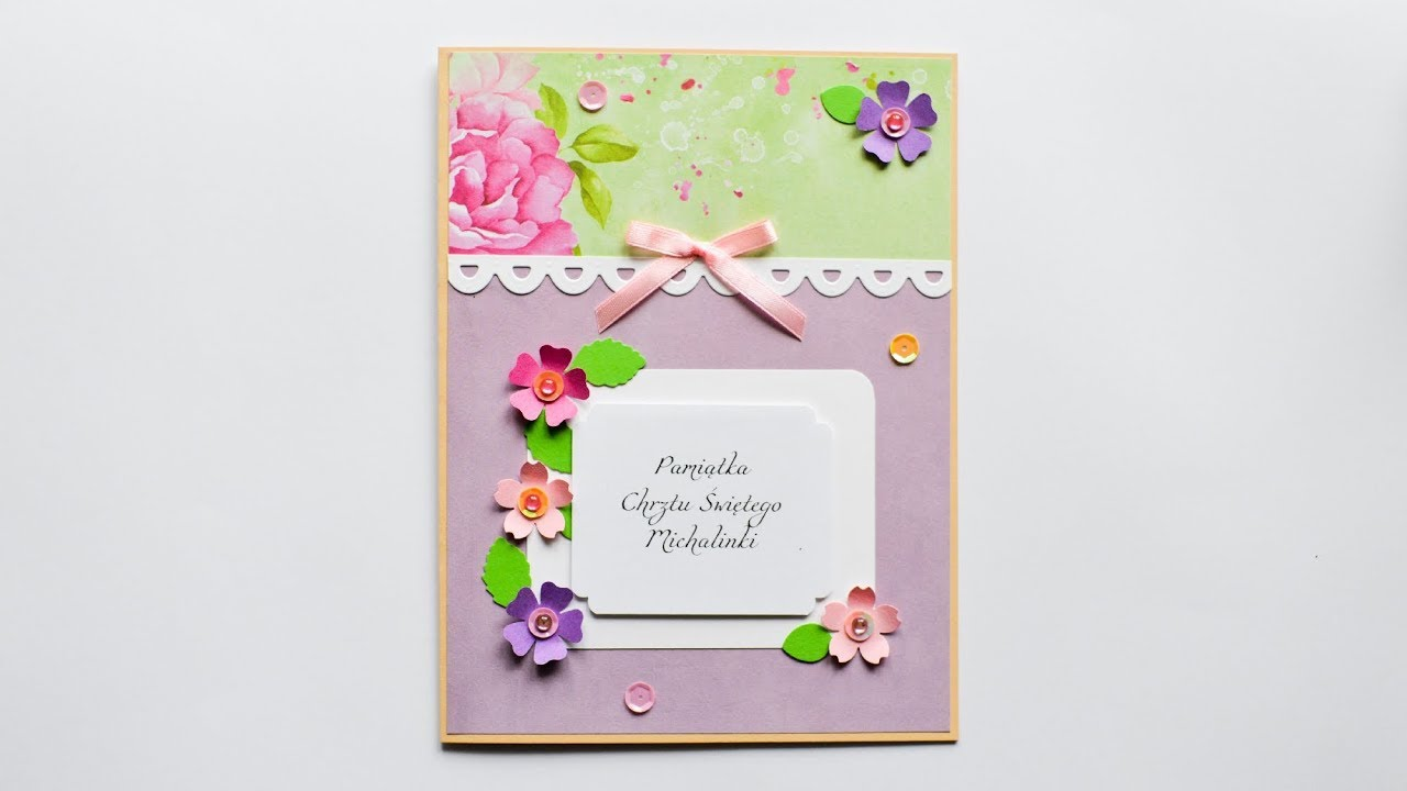 c0d689f1 How to make : Greeting Card with Flowers | Kartka Okolicznościowa z  Kwiatami - Mishellka #268 DIY
