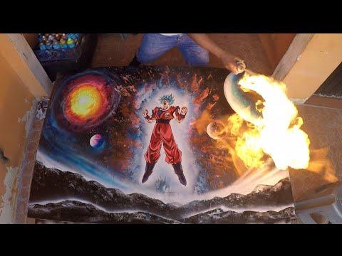 Goku Blue Dragon Ball Super Spray Paint Art