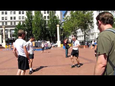 Hacky Sack footbag (central square in Portland Oregon)  http://en.wikipedia.org/wiki/Hacky_Sack