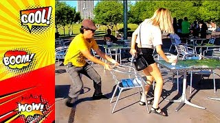 Chair pulling prank  | Funny video compilation Chair Pulling