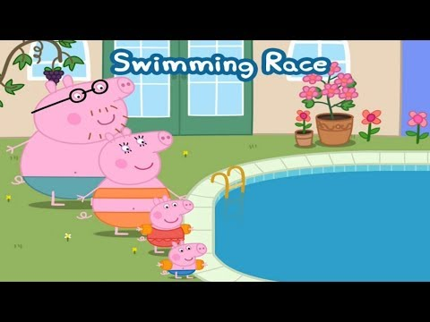 ☀ Peppa Pig Swimming Race  ☀  Peppa pig swimming pool ☀  Peppa pig gameplay for kids  ☀