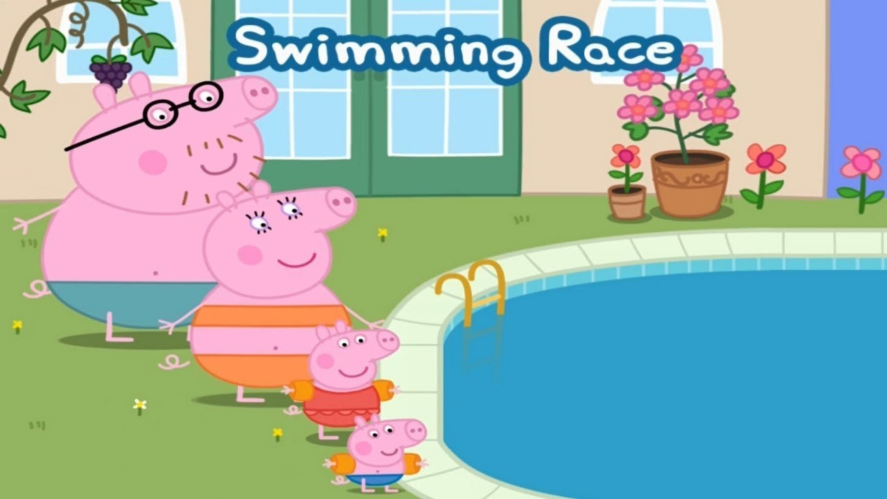 Peppa pig english episodes swimming pool cartoon for Peppa pig swimming pool english full episode