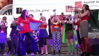 Filthy FemCorps, a band of lady geek musicians, performs a Wonder Woman set at MoPOP