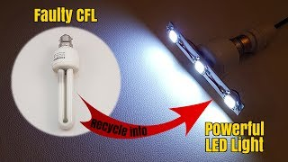 How to Make a  Bright LED Light from Scrap CFL Bulb - Homemade | DIY