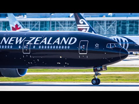 Stunning Air New Zealand Black Beauty 777-300(ER) & Other Arrivals At Vancouver YVR