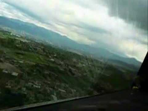 Cockpit view of a jet Landing in Toncontin Tegucigalpa, Hond