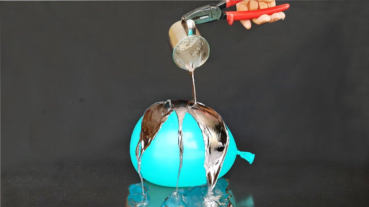 Plomo fundido sobre Globo con Agua  ¿ Explota o resiste ?