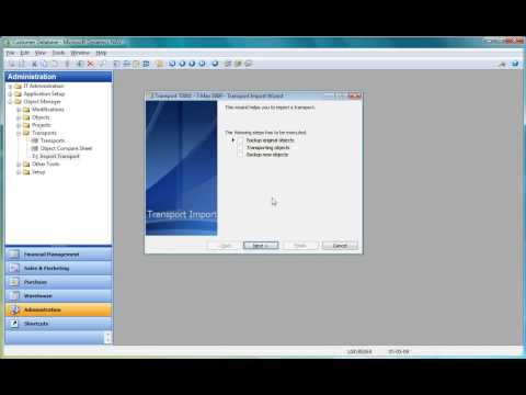 Object Manager Video 4: Import Transport in Customer Database